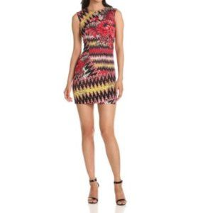 French Connection Red Black Zig Zag Floral Dress 4